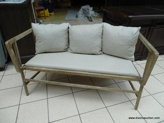 TATE OUTDOOR BENCH WITH A WEATHERED GREY FINISH. SIMILAR ITEMS SELL FOR $1,599.99 ONLINE! MEASURES