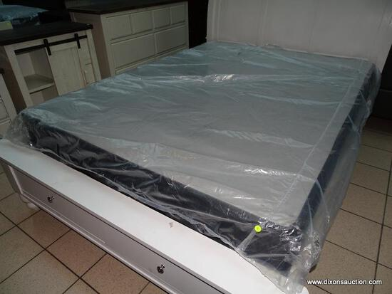 QUEEN SIZE BOX SPRINGS IN PLASTIC. ITEM IS SOLD AS IS WHERE IS WITH NO GUARANTEES OR WARRANTY. NO