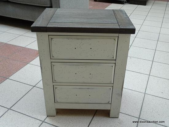 VAUGHAN-BASSETT CHESTNUT CREEK TWO-TONE NIGHTSTAND. RUSTIC CASUAL STYLING WITH GENTLY DISTRESSED