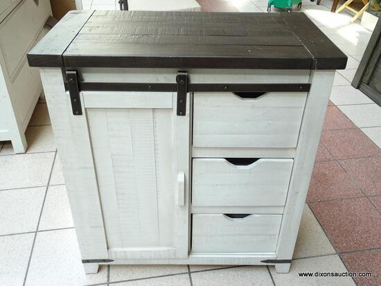 JOFRAN FURNITURE MADISON COUNTY VINTAGE WHITE 32 INCH ACCENT CABINET. EXPERTLY CRAFTED USING