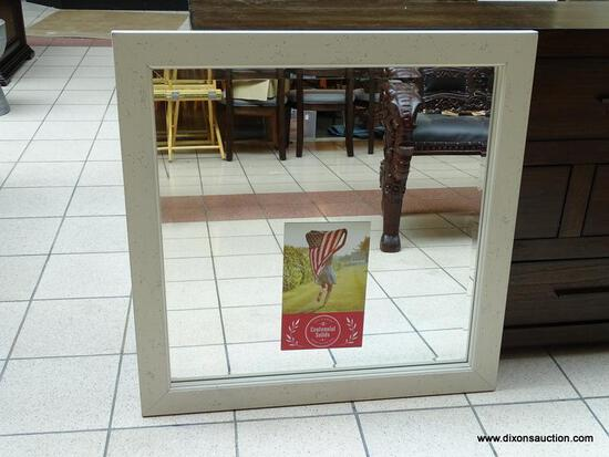 SOLID WOOD MIRROR FROM THE SIMONE COLLECTION BY VAUGHAN-BASSETT. HAS BEVELED GLASS EDGE AND A WHITE