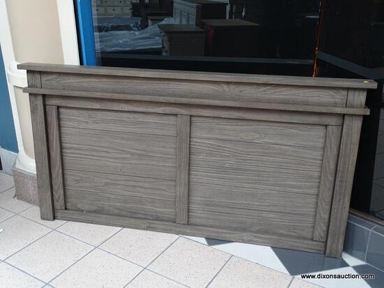 A-AMERICA HEADBOARD WITH A GRAY FINISH AND DOUBLE PANELED FRONT. NEEDS LEGS AND HOLLYWOOD BEDFRAMES.