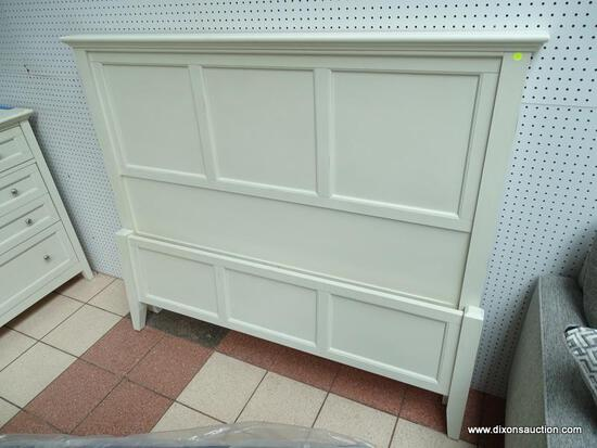 A-AMERICA NORTHLAKE COASTAL COTTAGE SOLID WOOD QUEEN PANEL BED IN WHITE LINEN. THE CLASSIC PANELING