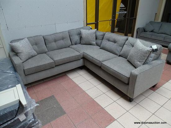 PEAK-LIVING PEWTER UPHOLSTERED 2-PIECE SECTIONAL WITH 3 DECORATIVE ACCENT PILLOWS AND BUTTON TUFTED