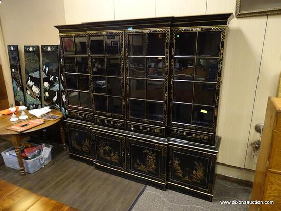 UNION NATIONAL FAR EASTERN THEMED BREAKFRONT WITH INTERIOR DESK. HAS 4 UPPER BEVELED GLASS PANELED