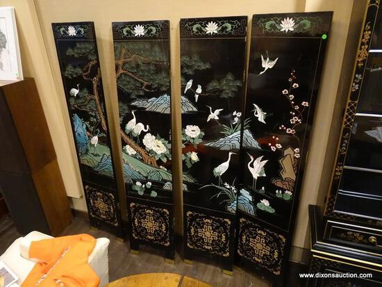 FAR EASTERN HAND PAINTED AND HAND CARVED 4 PANEL DIVIDER WITH IMAGES OF CRANES, CHERRY BLOSSOMS,