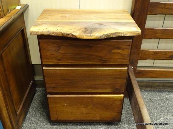 CYPRESS WOOD 3 DRAWER NIGHTSTAND. MADE FROM CARVED CYPRESS BY PHOENIX HARDWOODS IN FLOYD, VA. IS 1