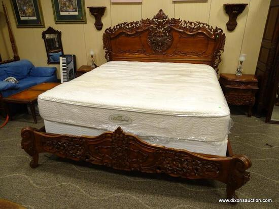 SOLID MAHOGANY KING SIZE BED WITH HIGHLY CARVED HEADBOARD AND FOOTBOARD WITH SOLID WOOD RAILS.
