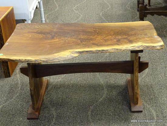 CYPRESS WOOD COFFEE TABLE WITH PEG CONSTRUCTION. MEASURES 37 IN X 22 IN X 17.5 IN. ITEM IS SOLD AS