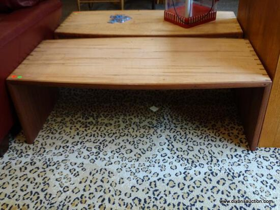 DOVETAILED CYPRESS WOOD AND ROSEWOOD COFFEE TABLE. IS 1 OF A PAIR AND MEASURES 48 IN X 22 IN X 18
