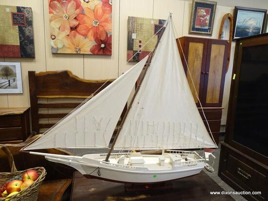 MODEL SAILING SHIP MADE BY LIPSCOMBE IN KILMARNOCK, VA. IS WHITE AND BURGUNDY IN COLOR. MEASURES 47
