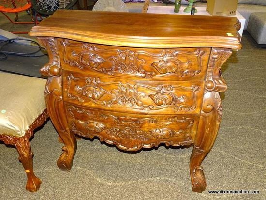 SOLID MAHOGANY HIGHLY CARVED 3 DRAWER CHEST. MEASURES 39.5 IN X 17.5 IN X 37 IN. ITEM IS SOLD AS IS