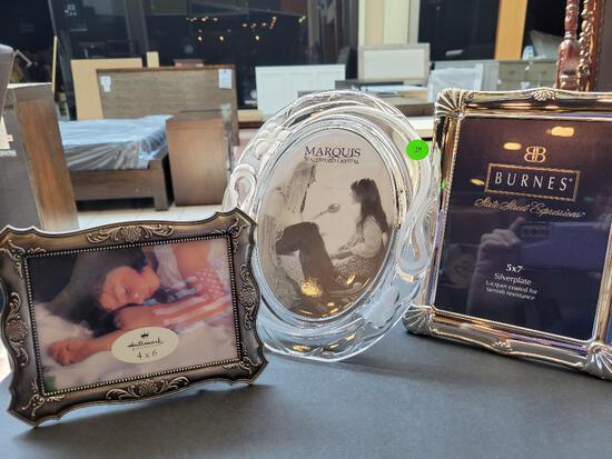PICTURE FRAMES - 1 WATERFORD MARQUIS OVAL CRYSTAL FRAME, 1 SILVER PLATE BURNES AND 1 BRUSHED SILVER