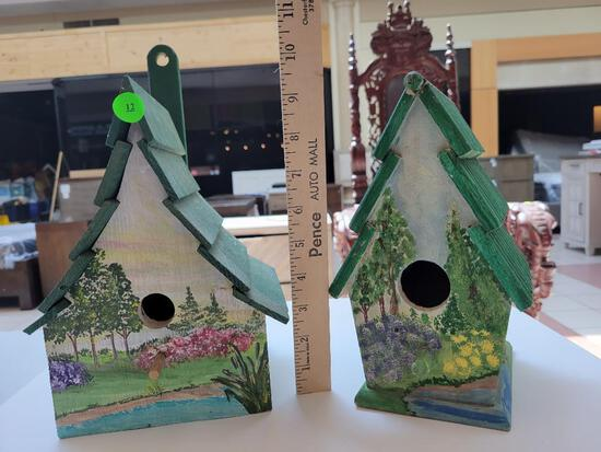 HAND PAINTED WOODEN BIRD HOUSES - SET OF TWO, ONE HAS A CRACK ON THE TOP, SEE PHOTOS OR PREVIEW FOR