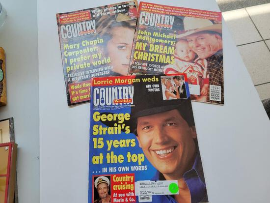 COUNTRY WEEKLY MAGAZINE - 3 ISSUES - GEORGE STRAIT, MARY CHAPIN CARPENTER AND JOHN MICHAEL