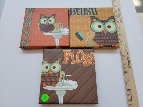 OWL BATH PICTURES ON CANVAS - SET OF 3 - APPROX 6 x 6