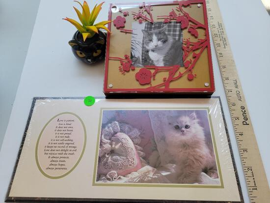 CAT LOVERS LOT TO INCLUDE PCTURE FRAME, FAUX SUCCULENT AND PRINT WITH VERSE