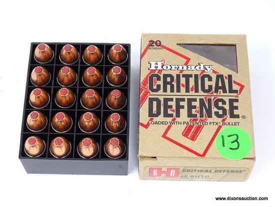 BOX OF 20 HORNADY CRITICAL DEFENSE .45 AUTO 165GR FTX. MODEL #90900.