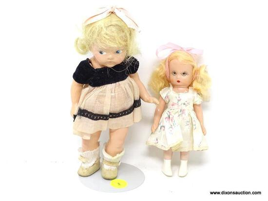 2 PIECE DOLL LOT TO INCLUDE A VINTAGE 5 IN TALL DOLL AND A VINTAGE 7 IN TALL DOLL WITH STAND. ITEM