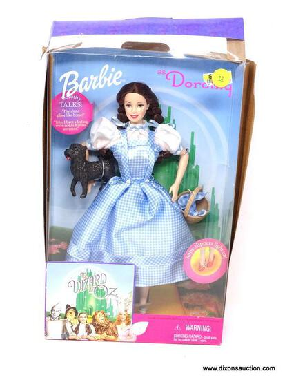 """BARBIE AND THE WIZARD OF OZ """"DOROTHY"""" WITH TOTO AND LIGHT UP RUBY SLIPPERS. IS IN OPENED PACKAGE."""
