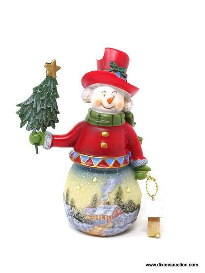 HAND PAINTED SNOWMAN FIGURINE WITH CHRISTMAS TREE AND BIRDHOUSE ACCENTS. MEASURES 6 IN TALL. ITEM IS