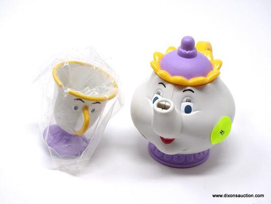 SET OF BEAUTY AND THE BEAST'S MRS. POTT AND CHIP TOY TEA KETTLE AND TEA CUP. ITEM IS SOLD AS IS