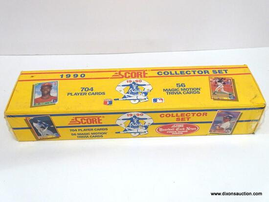 SCORE 1990 COLLECTOR SET 704 PLAYER CARDS AND 56 MAGIC MOTION TRIVIA CARDS STILL IN ORGINAL PLASTIC.