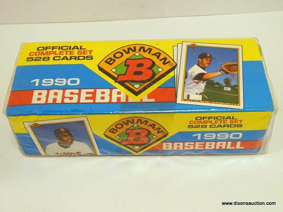 BOWMAN 1990 BASEBALL CARDS COMPLETE SET IN ORGINAL PLASTIC BOX 528 CARDS. ITEM IS SOLD AS IS WHERE