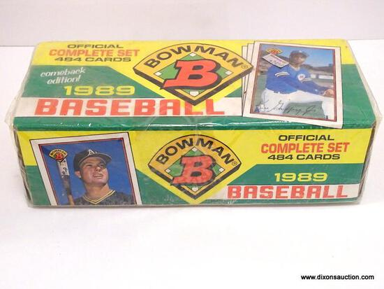 BOWMAN 1989 BASEBALL CARDS COMPLETE SET 484 CARDS IN ORGINAL PLASTIC. ITEM IS SOLD AS IS WHERE IS