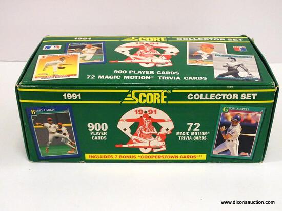 SCORE 1991 BASEBAALL COLLECTOR SET, LOOKS TO BE COMPLETED 900 PLYER CARDS, 72 MAGIC MOTION TRIVIA