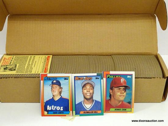 TOPPS 1990 BASEBALL CARDS LOOKS TO BE COMPLETED IN BROWN BOX. ITEM IS SOLD AS IS WHERE IS WITH NO