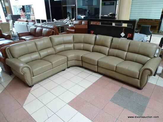 BRAND NEW TOP GRAIN LEATHER TAUPE 3 PIECE SECTIONAL BY ABBYSON. HAS BRASS STUDDED ACCENTS ALONG THE
