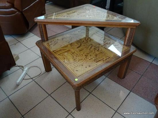 2 TIER CARVED ORIENTAL STYLE END TABLE/SIDE TABLE WITH UPPER TRIANGULAR SHAPED SHELF. BOTH SECTIONS