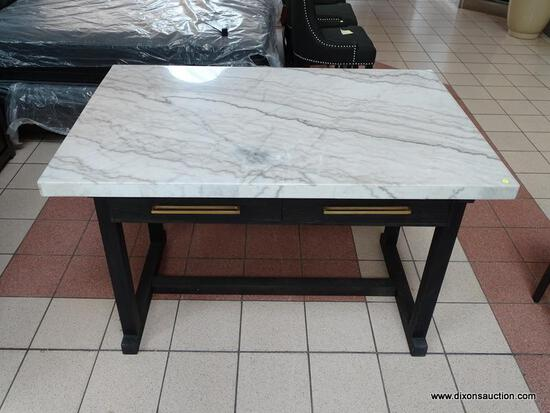 BRAND NEW WHITE MARBLE TOP ISLAND WITH BLACK PAINTED BASE AND 2 DRAWERS ON EITHER SIDE. SIMILAR