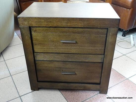 BRAND NEW ASPENHOME MODERN LOFT 2 DRAWER NIGHTSTAND IN BROWN WITH DUAL PLUG IN RECEPTACLES. RETAILS