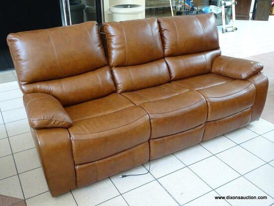 BRAND NEW TOP GRAIN LEATHER POWER RECLINING SOFA BY ABBYSON. HAS PAPERWORK. MEASURES 87 IN X 34 IN X