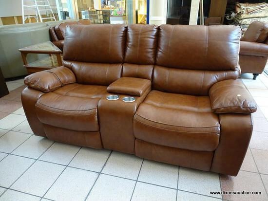 BRAND NEW TOP GRAIN LEATHER POWER RECLINING LOVESEAT WITH CENTER STORAGE CONSOLE AND DUAL CUP