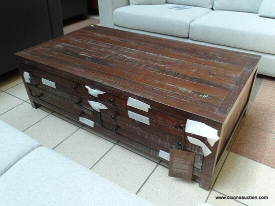 BRAND NEW TOWNSEND 55 IN. JAVA LARGE RECTANGLE WOOD COFFEE TABLE WITH 8-DRAWERS. THE ROUGH AND