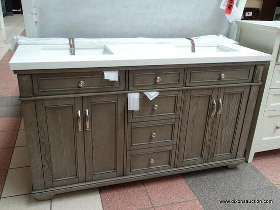 """BRAND NEW ROCKVALE 60"""" VANITY BY NORTHRIDGE HOME. ELEGANT ANTIQUE TOUCHES COMPLEMENT THIS CLASSIC"""