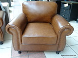 BRAND NEW MORTARA LEATHER ARMCHAIR IN BROWN.