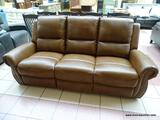 3 CUSHION MANUAL RECLINING SOFA IN BROWN. MEASURES 85 IN X 36 IN X 42 IN. SIMILAR ITEMS RETAIL FOR