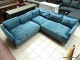 BLUE SUEDE UPHOLSTERED 2 PIECE SECTIONAL WITH SILVER TONED ACCENT PILLOWS. MEASURES 93 IN X 93 IN X