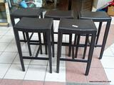 SET OF 5 LEATHER UPHOLSTERED BAR STOOLS WITH LOWER FEET RESTS. EACH MEASURES 18 IN X 14 IN X 29.5
