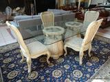NEW THOMASVILLE DINING SET TO INCLUDE A DOUBLE PEDESTAL BASE GLASS TOP TABLE WITH ACANTHUS LEAF