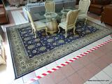 PRIVATE RESERVE KASHAN 10X14. NAVY BLUE/CREAM. THIS FINE ONE OF A KIND HAND KNOTTED RUG DESIGN