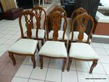 SET OF 6 MAHOGANY DINING CHAIRS WITH CARVED SPLATS AND SABRE STYLE FRONT LEGS. HAVE SHELL CARVED