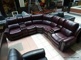 BRAND NEW BRADLEY TOP GRAIN LEATHER POWER RECLINING SECTIONAL IN MAROON. INSTANTLY TRANSFORM YOUR