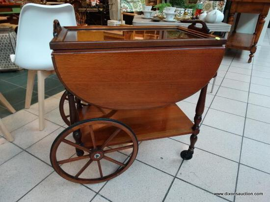 WOW!!! ANTIQUE TEA CART IN AWESOME CONDITION! WITH TRAY AND DRAWER, FOLD DOWN LEAVES AND HANDLE