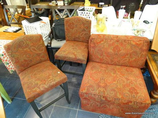 PIER ONE ARMLESS CHAIR AND 2 BAR STOOLS