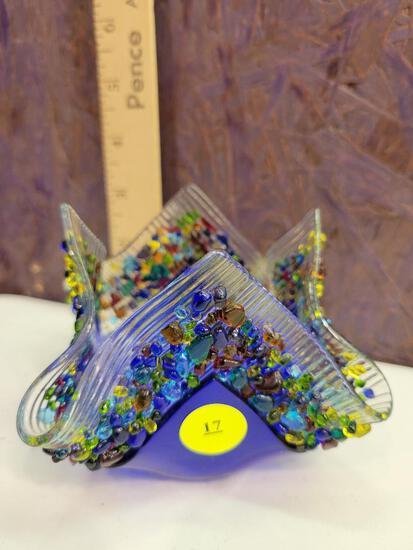 GLASSWORKS HANDMADE FUSED GLASS VOTIVE HOLDER - COBALT
